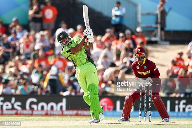 Haris Sohail of Pakistan bats during the 2015 ICC Cricket World Cup match between Pakistan and the West Indies at Hagley Oval on February 21 2015 in...