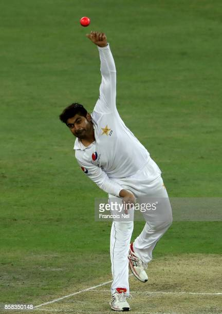 Haris Sohail of Pakistan bowls during Day One of the Second Test between Pakistan and Sri Lanka at Dubai International Cricket Ground on October 6...