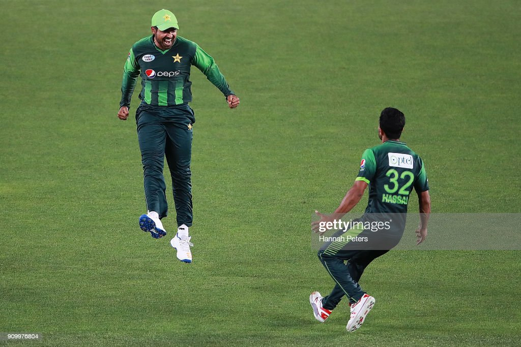 Haris Sohail of Pakistan celebrates after running out Tom Bruce of the Black Caps during the International Twenty20 match between New Zealand and Pakistan at Eden Park on January 25, 2018 in Auckland, New Zealand.