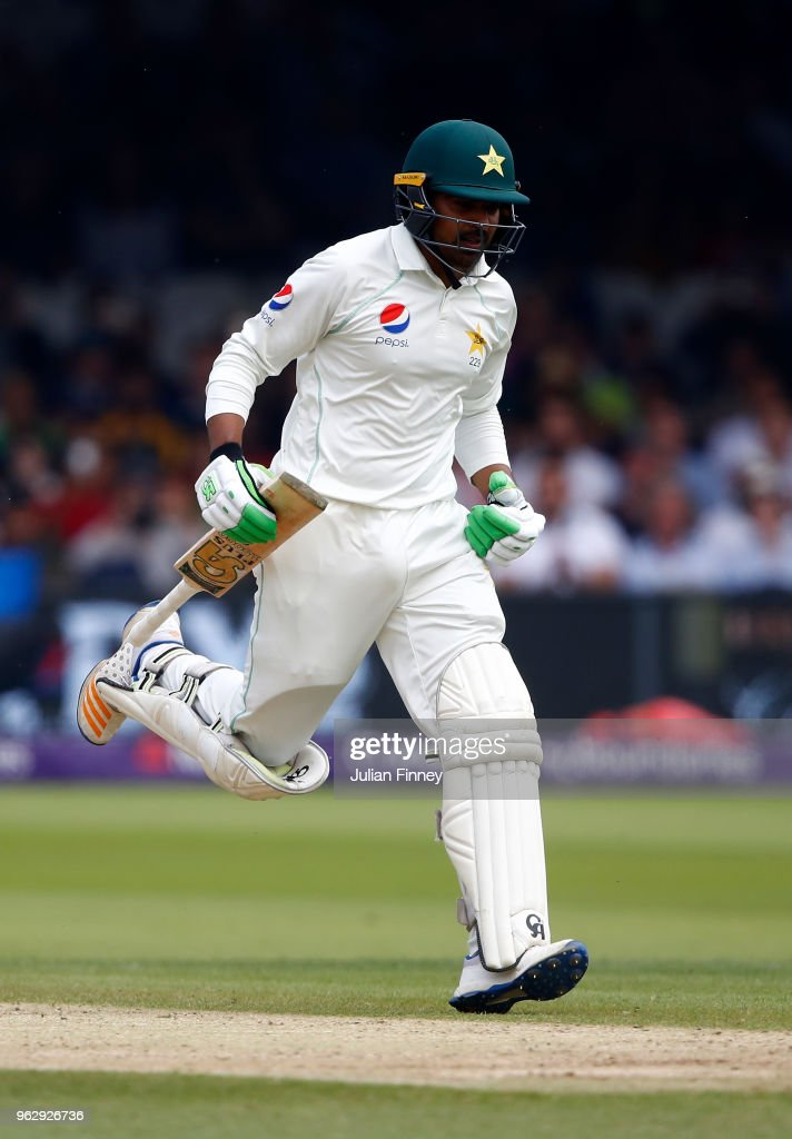 Haris Sohail of Pakistan hits the winning runs as they defeat England during day four of the 1st Test match between England and Pakistan at Lord's Cricket Ground on May 27, 2018 in London, England.