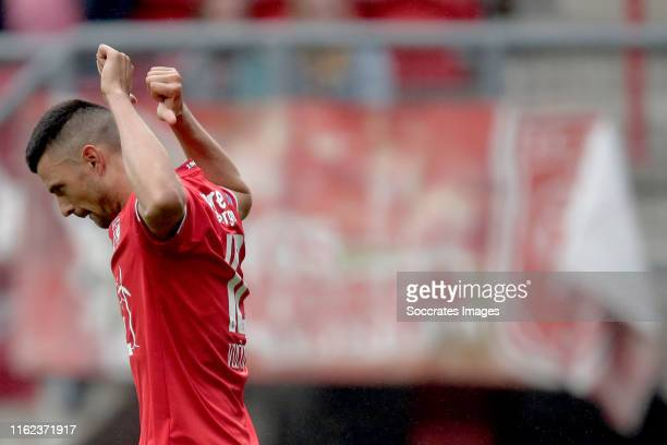 Haris Vuckic of FC Twente celebrates 1-1 during the Dutch Eredivisie match between Fc Twente v RKC Waalwijk at the De Grolsch Veste on August 18,...