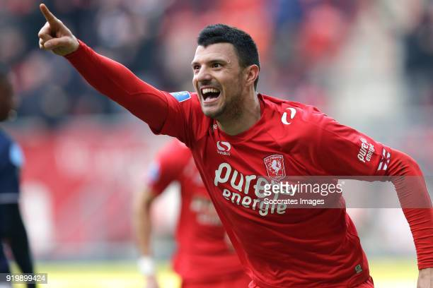 Haris Vuckic of FC Twente celebrates 11 during the Dutch Eredivisie match between Fc Twente v Sparta at the De Grolsch Veste on February 18 2018 in...