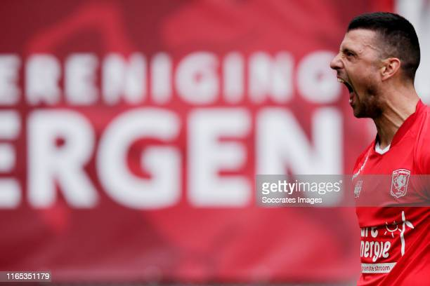 Haris Vuckic of FC Twente celebrates 2-1 during the Dutch Eredivisie match between Fc Twente v FC Utrecht at the De Grolsch Veste on September 1,...