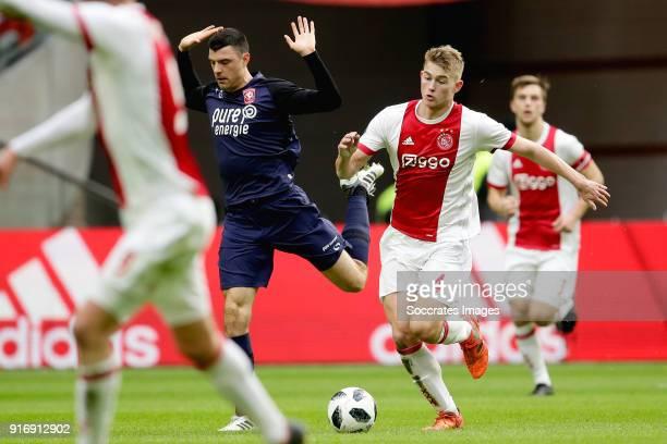 Haris Vuckic of FC Twente Matthijs de Ligt of Ajax during the Dutch Eredivisie match between Ajax v Fc Twente at the Johan Cruijff Arena on February...