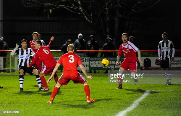 Haris Vuckic of Newcastle United strikes the ball and scores the equalising goal during the Northumberland Senior Cup Semi Final between North...