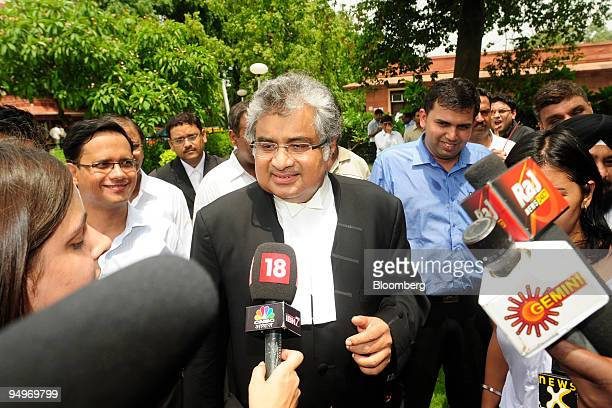 Harish Salve council for Reliance Industries Ltd speaks to reporters after a hearing at the Supreme Court in New Delhi India on Monday July 20 2009...