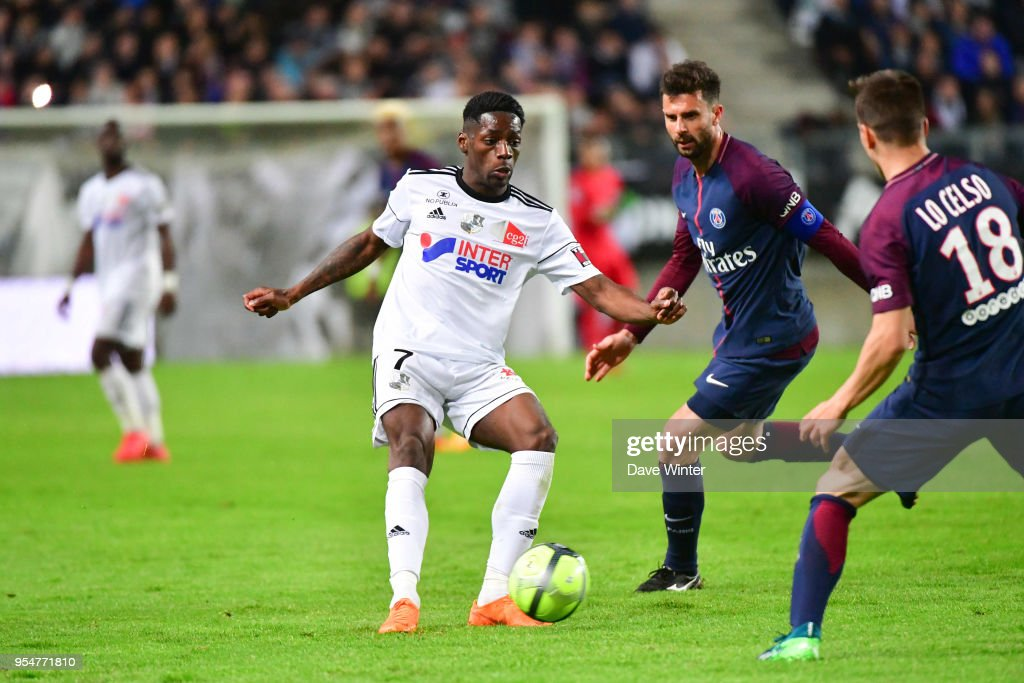 Harisson Manzala of Amiens during the Ligue 1 match between Amiens SC and Paris Saint Germain at Stade de la Licorne on May 4, 2018 in Amiens, .