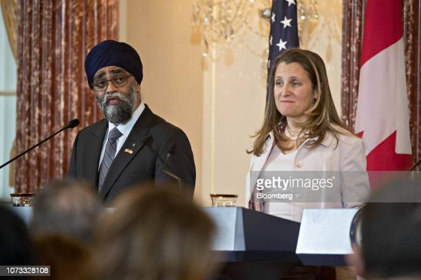 Harjit Sajjan Canada's defense minister speaks as Chrystia Freeland Canada's minister of foreign affairs right listens at a news conference during a...