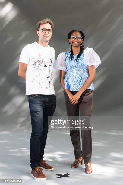 Harkaitz Cano and Jumoke Verissimo attends a photocall during the Edinburgh International Book Festival 2019 on August 10, 2019 in Edinburgh,...