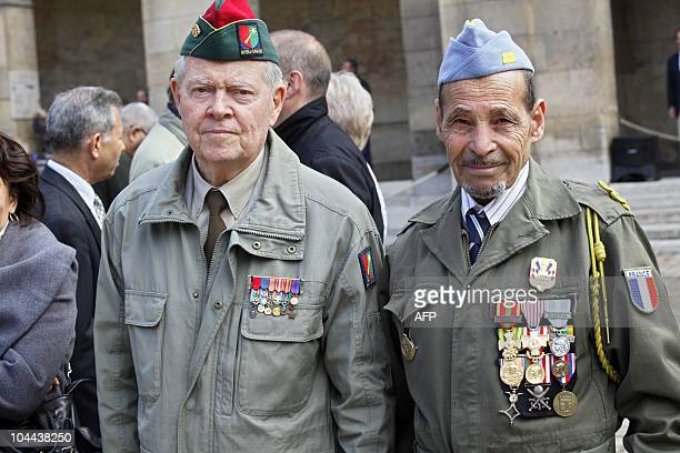 Harki veterans former northern African soldiers of the French army during the Algerian national Liberation war attend a national ceremony paying...