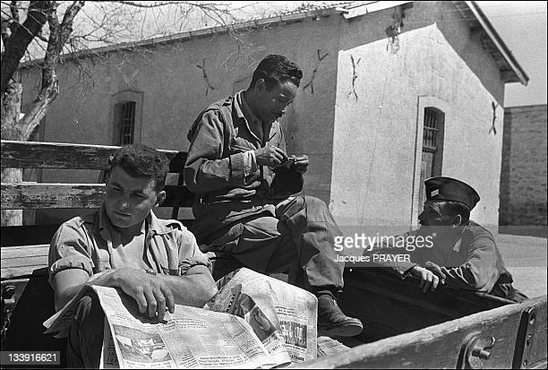Harkis and soldiers of the commando are resting in December 1961 during the Algerian war in Ain Beida Algeria