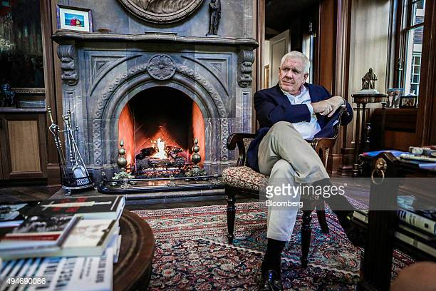 Harlan Crow chairman and chief executive officer of Crow Holdings LLC sits for a photograph at the Old Parkland estate offices in Dallas Texas US on...