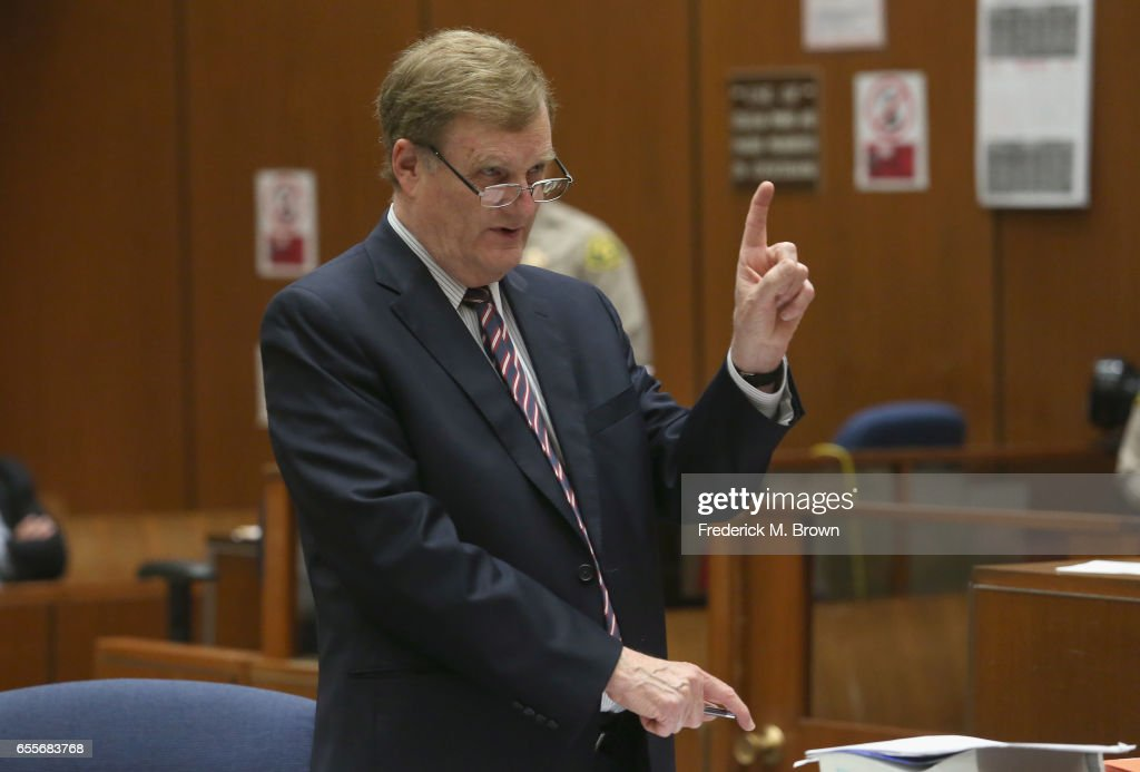 Harland Braun, attorney for Roman Polanski speaks during a hearing for People v. Roman Polanski at Clara Shortridge Foltz Criminal Justice Center on March 20, 2017 in Los Angeles, California. Polanski has been a fugitive form the U.S court system for several decades when he left the country prior to sentencing for having sex with a minor in 1977.