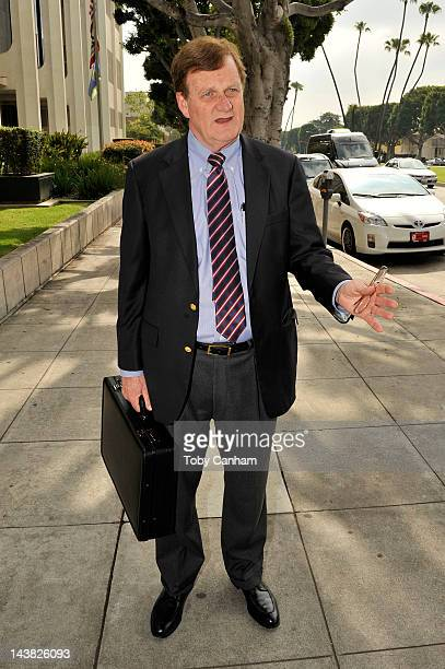 Harland Braun Lane Garrison's attorney talks to the media at Beverly Hills Courthouse on May 4 2012 in Beverly Hills California Garrison was charges...