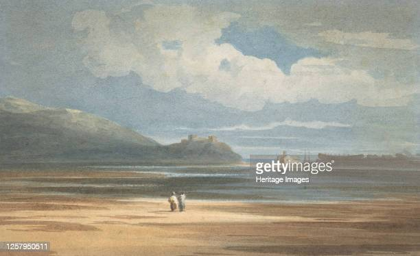 Harlech Castle across the Traeth Mawr, 1800-1842. Artist John Varley I.