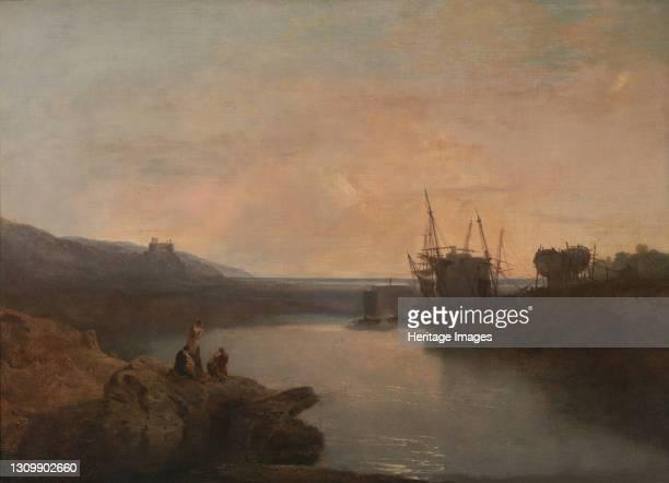 Harlech Castle, from Tygwyn Ferry, Summer's Evening Twilight;Harlech Castle, from Twgwyn Ferry, Summer's Evening Twilight, 1799. Artist JMW Turner. .