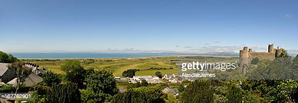 harlech castle panorama - north wales stock pictures, royalty-free photos & images