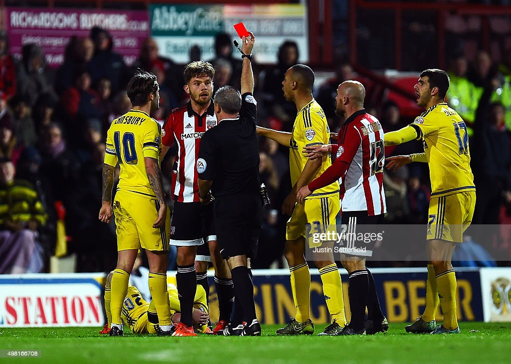 Harlee Dean of Brentford gets a red card during the Sky Bet Championship match between Brentford and Nottingham Forest at Griffin Park on November 21, 2015 in Brentford, United Kingdom.