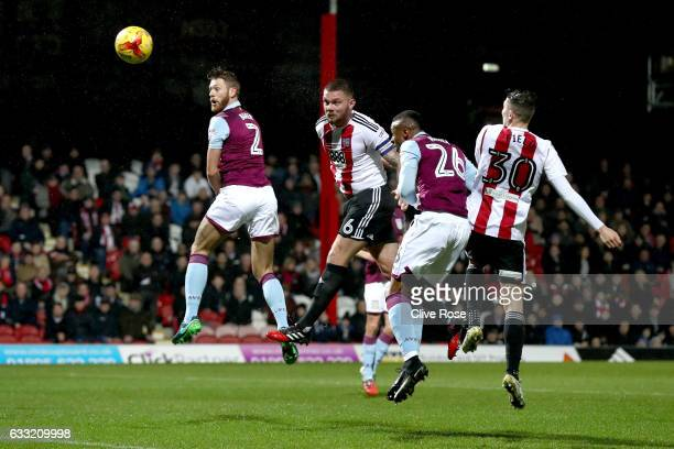 Harlee Dean of Brentford heads at goal during the Sky Bet Championship match between Brentford and Aston Villa at Griffin Park on January 31 2017 in...