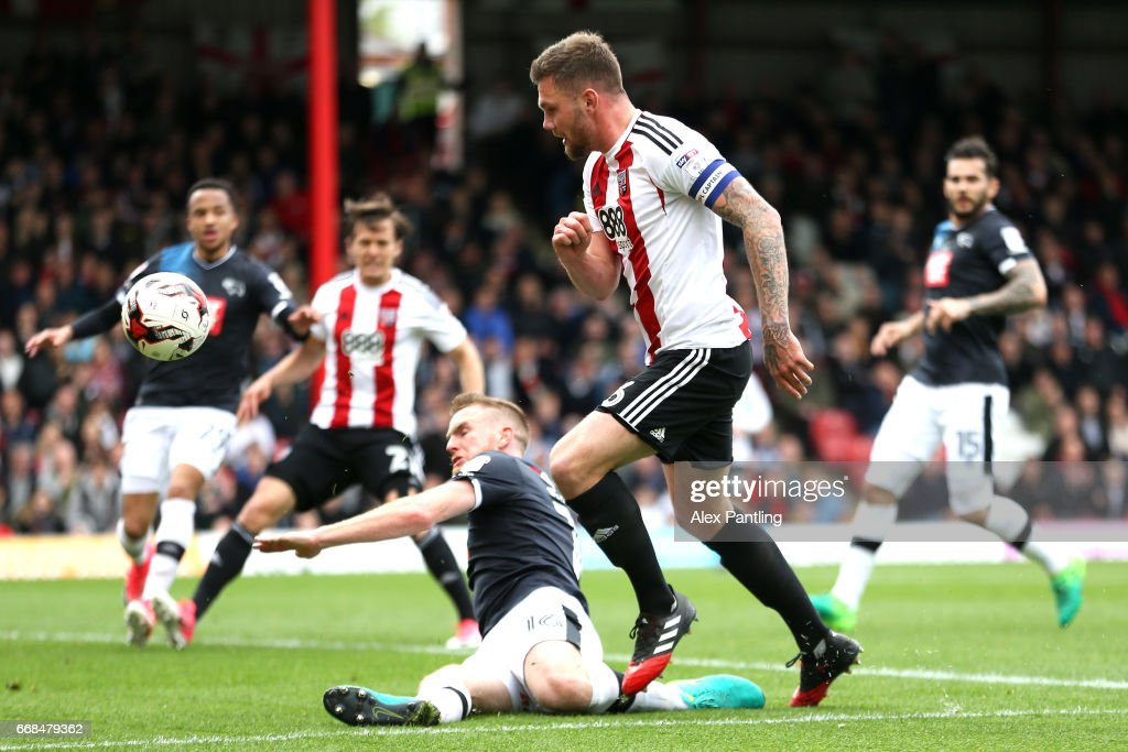 Harlee Dean of Brentford shoots on goal during the Sky Bet Championship match between Brentford and Derby County at Griffin Park on April 14, 2017 in Brentford, England.