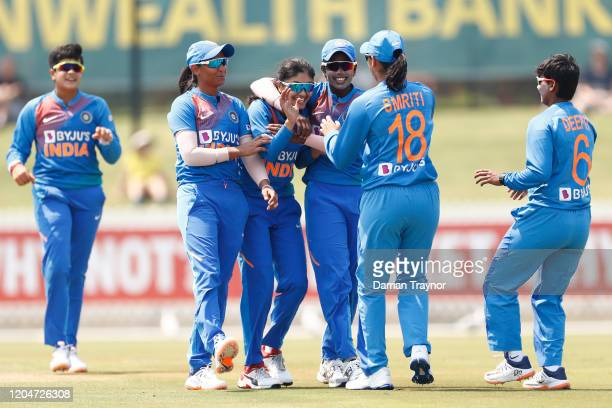 Harleen Deol of India celebrates the wicket of Beth Mooney of Australia during game five of the Women's One Day International series between...