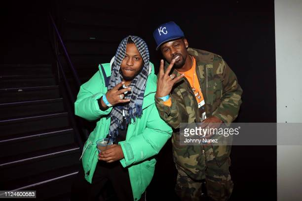 Harlem Beans and Jay Prezi attend Stoop Talks with A$AP Rocky Dapper Dan at Terminal 5 on February 12 2019 in New York City