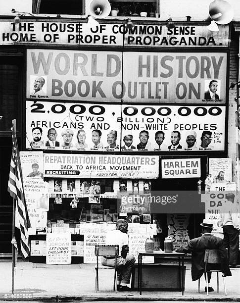"""Harlem bookstore known as the """"House of Common Sense and the Home of Proper Propaganda"""" hosts the registration for the Back -To- Africa movement"""
