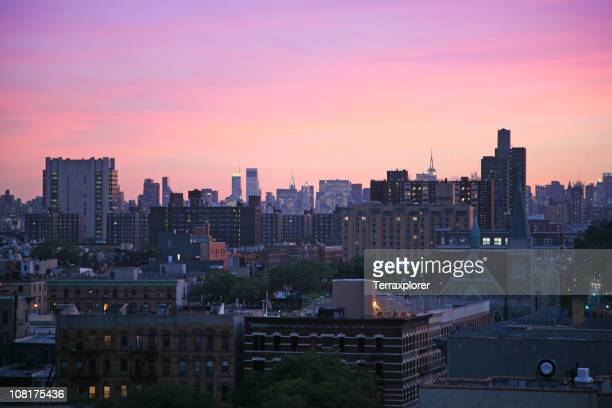 harlem cityscape at dusk - harlem stock pictures, royalty-free photos & images