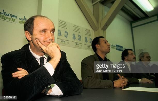 Harlem Desir joins Generation Ecologie in Paris France on January 19 1993 Brice Lalonde Harlem Desir and Noel Mamere