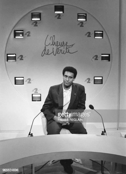 Harlem Désir invité de l'émission 'L'heure de vérité' sur Antenne 2 le 19 aout 1987 à Paris France
