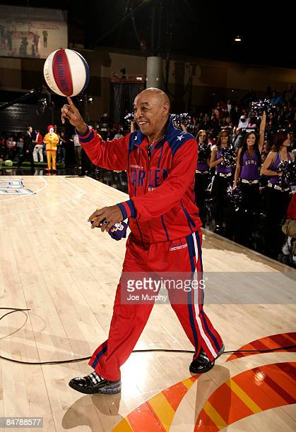 Harlem Globetrotter Curly Neal entertains the fans during the McDonald's AllStar Celebrity Game on center court during NBA Jam Session Presented by...