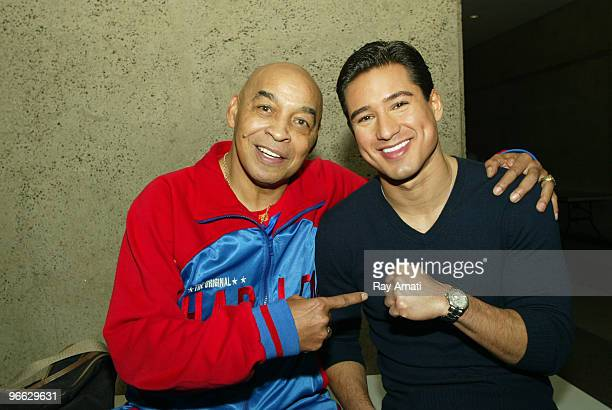 Harlem Globetrotters legend Curly Neal poses with Actor Mario Lopez prior to the 2010 NBA AllStar Celebrity Game presented by FINAL FANTASY XIII on...
