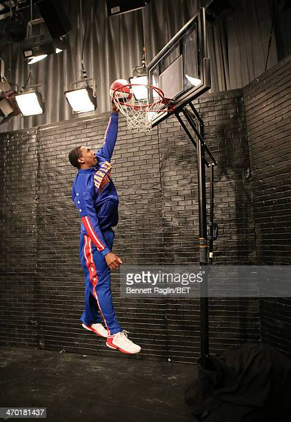 Harlem Globetrotters player Bull Bullard performs during 106 Park at BET studio on February 10 2014 in New York City