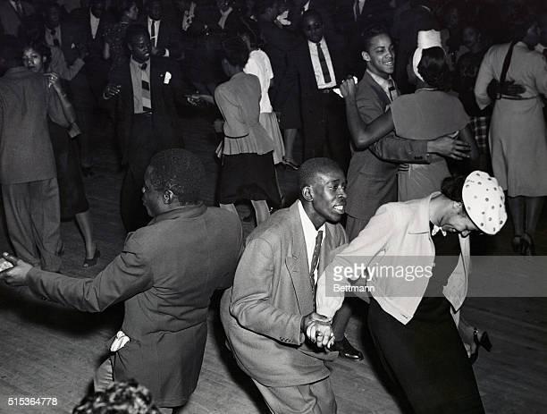 Inspired crowd in Savoy Ballroom during jitterbug days