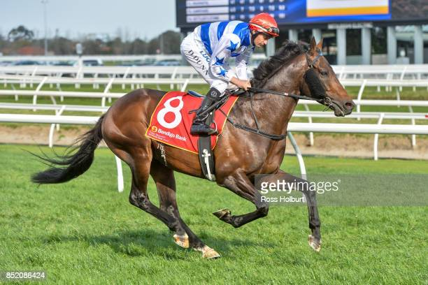Harlem ridden by Dwayne Dunn heads to the barrier before the Bendigo Bank East Malvern MRC Foundation Cup at Caulfield Racecourse on September 23...
