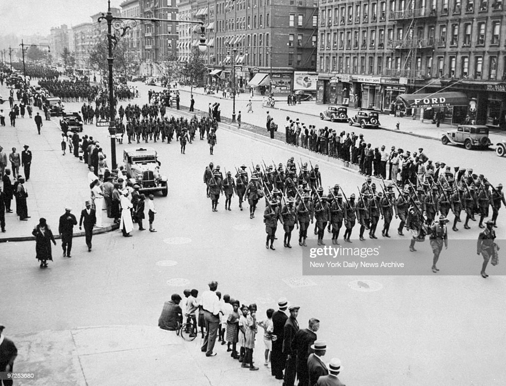 Harlem's Own 369th Regiment marches in welcome home parade a : News Photo
