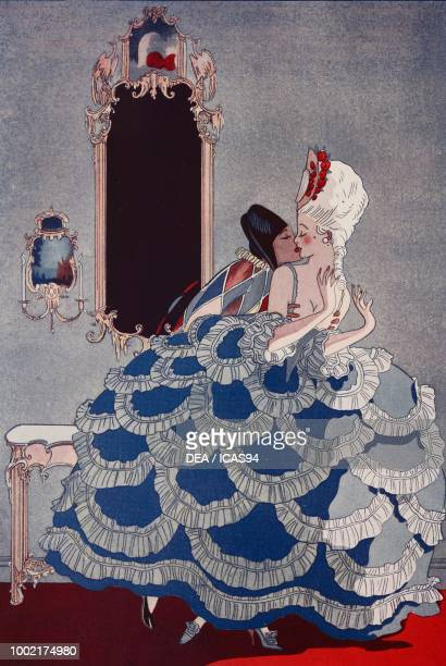 Harlequin et Marquisette The kiss drawing by Tito from The Tatler No 1405 May 30 London