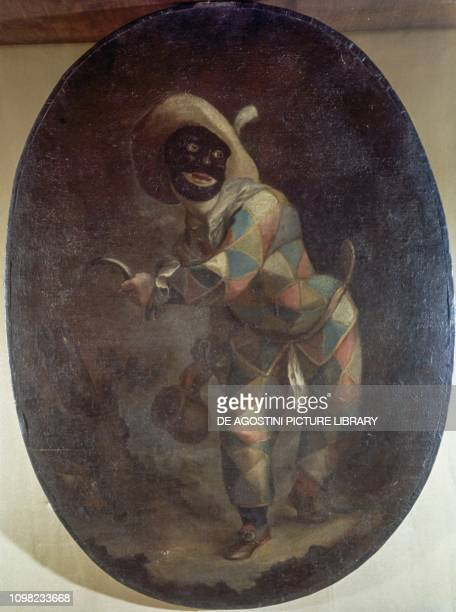 Harlequin mask oil painting Italy 19th century