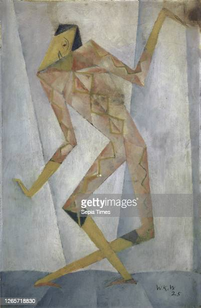 Harlequin oil on cardboard 365 x 24 cm monogrammed and dated lower right WKW 25 Walter Kurt Wiemken Basel 1907–1941 bei Castel San Pietro/Tessin