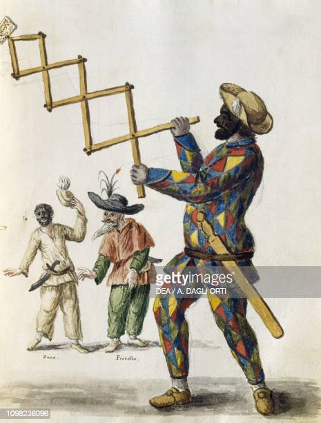 Harlequin watercolour from The Venetian clothes of almost every age diligently collected and painted in the 18th century by Jan van Grevenbroeck or...