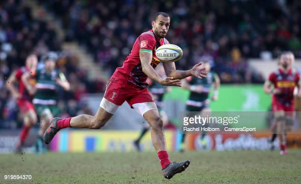 Harlequins Aaron Morris at Leicester Tigers during the Aviva Premiership match between Leicester Tigers and Harlequins at Welford Road on February 17...