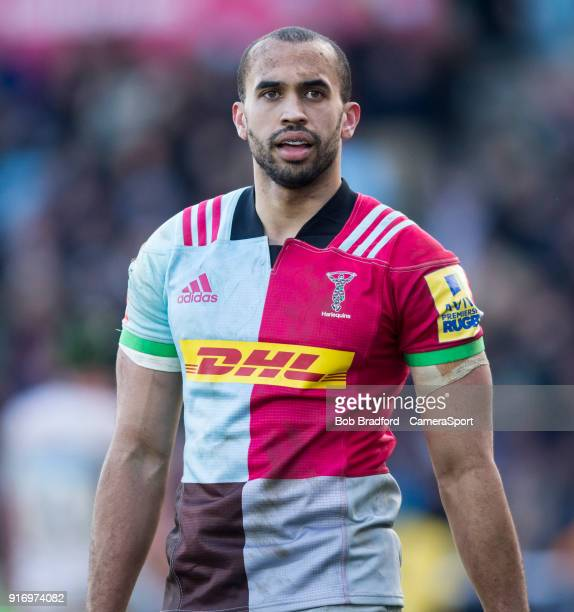 LONDON ENGLAND FEBRUARY Harlequins' Aaron Morris during the Aviva Premiership match between Harlequins and Wasps at Twickenham Stoop on February 11...