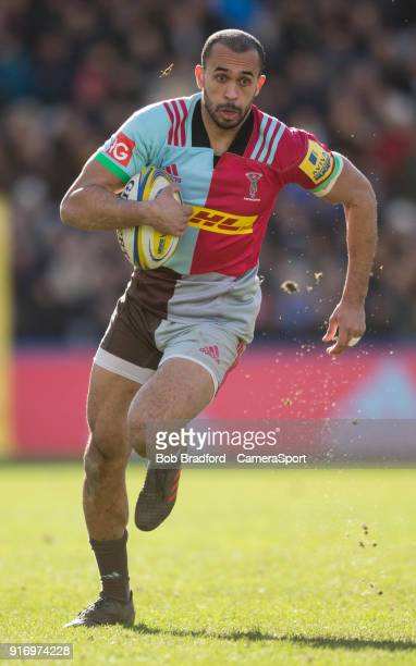 LONDON ENGLAND FEBRUARY Harlequins' Aaron Morris in action during todays match during the Aviva Premiership match between Harlequins and Wasps at...