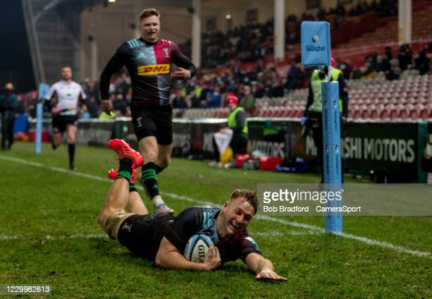 Harlequins' Alex Dombrandt scores his sides fourth try during the Gallagher Premiership Rugby match between Gloucester and Harlequins at Kingsholm...