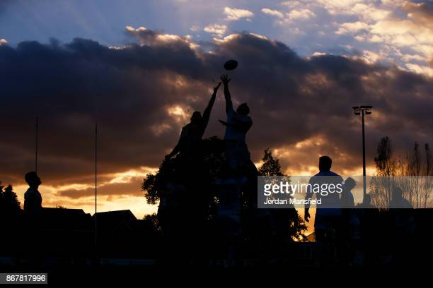 Harlequins and Saracens compete for a lineout during the Aviva A League match between Harlequins A and Saracens Storm on October 29 2017 in Esher...