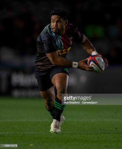 Harlequins' Ben Tapuai during the Premiership Rugby Cup First Round match between Harlequins and Bristol Bears at Twickenham Stoop on September 20...