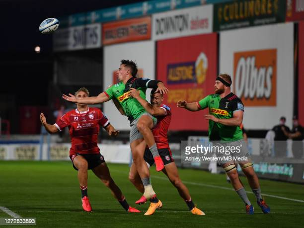 Harlequins' Cadan Murley is tackled by Gloucester Rugby's Jonny May during the Gallagher Premiership Rugby match between Gloucester Rugby and...