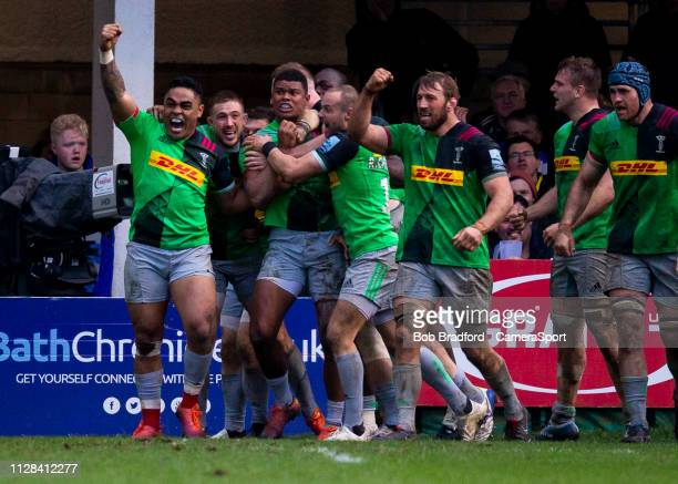 Harlequins celebrate after scoring a last minute winner during the Gallagher Premiership Rugby match between Bath Rugby and Harlequins at Recreation...