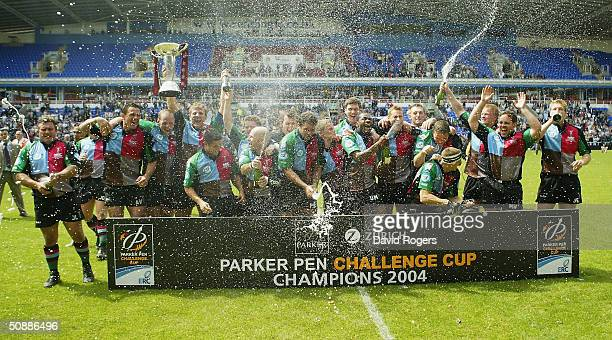 Harlequins celebrate after winning the Parker Pen Challenge Cup Final Between Montferrand and NEC Harlequins at the Madejski Stadium on May 22 2004...