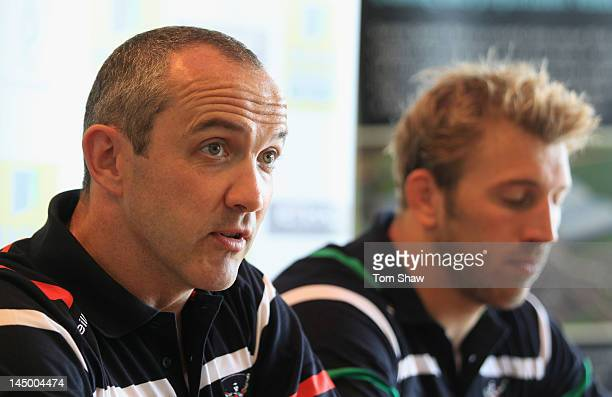 Harlequins coach Conor O'Shea talks ot the press during the Harlequins Rugby media day at Surrey Sport Park on May 22 2012 in Guildford England